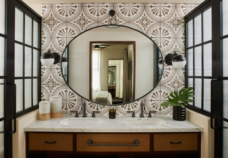 bathroom with a sink and mirror