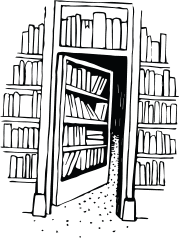illustration of library shelves and bookcase