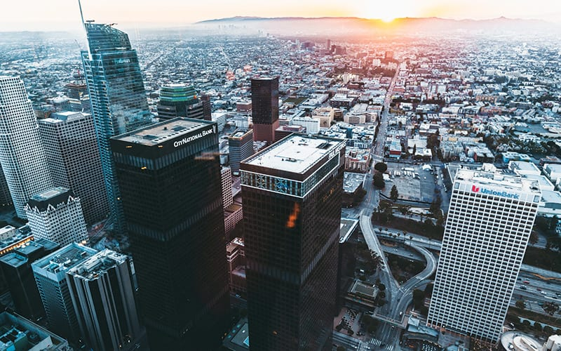 aerial view od downtown Los Angeles