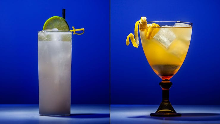 two different cocktails, one in a highball glass and another in a cup