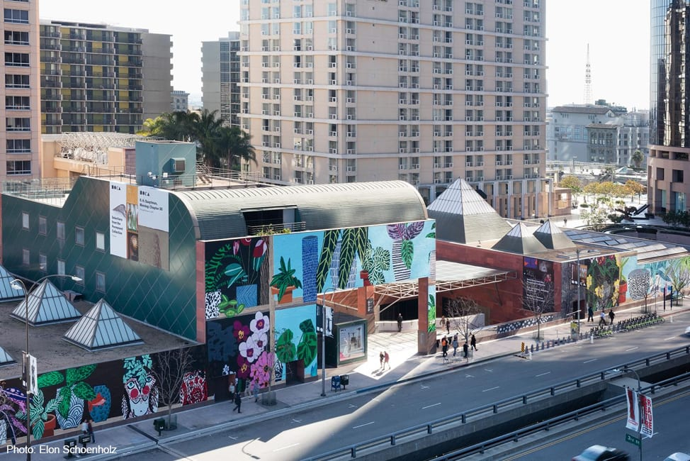 exterior daytime shot of colorful museum of contemporary art in Los Angeles