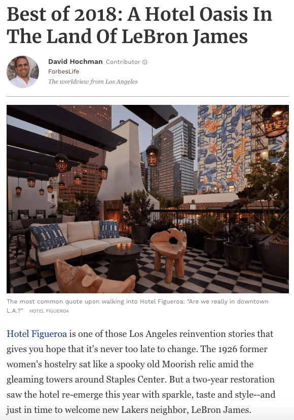 Forbes: Best Of 2018: A Hotel Oasis In The Land Of Lebron James