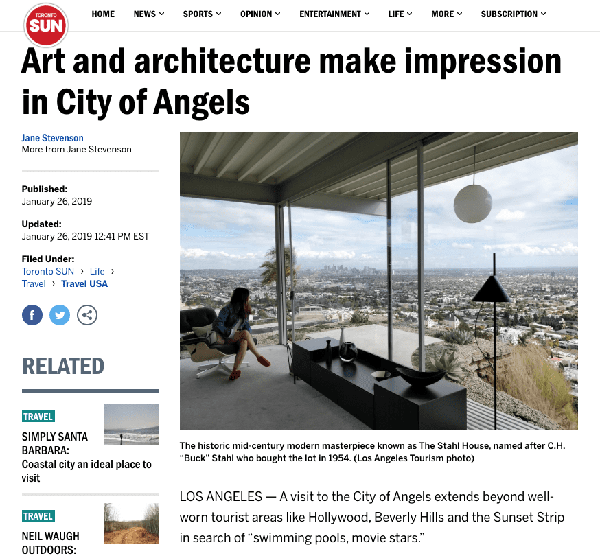 Toronto Sun: Art And Architecture Make Impression In City Of Angels